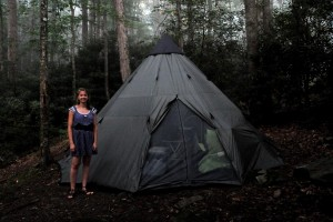Me and our camping tent