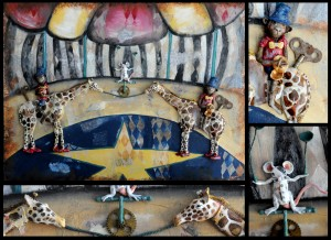 Mixed Media piece created with polymer clay, acrylic, and collage.