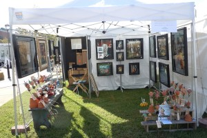 Booth set up at Port Warwick art and sculpture festival.