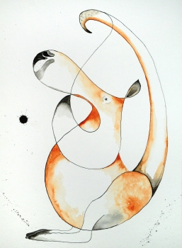 Abstract Kangaroo-watercolor and ink. I am representing this piece so feel free to email me klc.crawford@gmail.com for pricing.