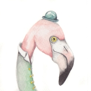 "The Fancy Flamingo, 3 1/2""x3 1/2"" original watercolor painting. Represented by Williamsburg Art Gallery 440A W Duke of Gloucester Street Williamsburg, VA 23185 (757) 565-9680"