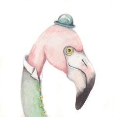 "The Fancy Flamingo, 3 1/2""x3 1/2"" original watercolor painting. Represented by Williamsburg Art Gallery 440A W Duke of Gloucester Street Williamsburg, VA 23185 (757) 565-9680"