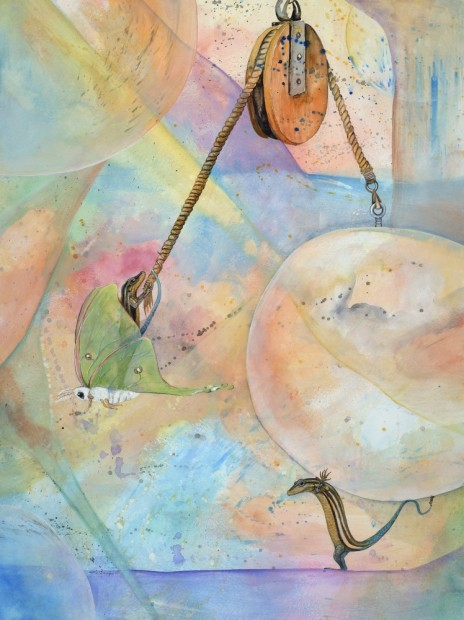 """Hoist it High. This 18""""x24"""" original is done with watercolor and gesso. It is part of a series with abstract backgrounds and concrete characters. Framed.I am representing this piece so feel free to email me klc.crawford@gmail.com for pricing."""