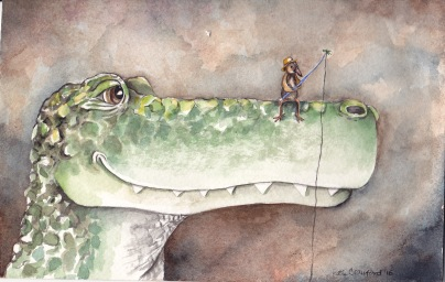"""Anything Biting? 5""""x7.5"""" watercolor original. Framed in a multi-toned wood frame with white archival matting and UV protective glass. I am currently representing this piece so feel free to contact me about pricing or more info at klc.crawford@gmail.com."""