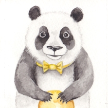 """The Happy Panda, 3 1/2""""x3 1/2"""" original watercolor painting. Represented by Cheryl Watts Pottery & Gallery (831) 655-0303"""