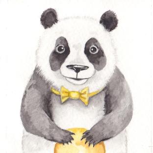"The Happy Panda, 3 1/2""x3 1/2"" original watercolor painting. Represented by Williamsburg Art Gallery 440A W Duke of Gloucester Street Williamsburg, VA 23185 (757) 565-9680"