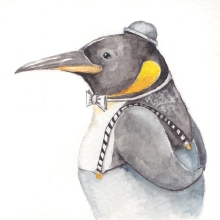 """Mr. Carson-3 1/2""""x3 1/2"""" original watercolor painting. Represented by Cheryl Watts Pottery & Gallery (831) 655-0303"""