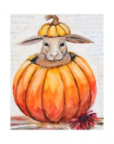 "Pumpkin Pie is an original mixed media painting done with watercolor over vintage letters from the 1950's. It measures 10""x8"" and is framed in a black frame with white matting. $165.00-sold"