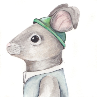 "The Charming Rabbit, 3 1/2""x3 1/2"" original watercolor painting. Represented by Williamsburg Art Gallery 440A W Duke of Gloucester Street Williamsburg, VA 23185 (757) 565-9680"