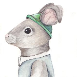 "The Charming Rabbit, 3 1/2""x3 1/2"" original watercolor painting. Represented by Williamsburg Art Gallery 440A W Duke of Gloucester Street Williamsburg, VA 23185 (757) 565-9680"