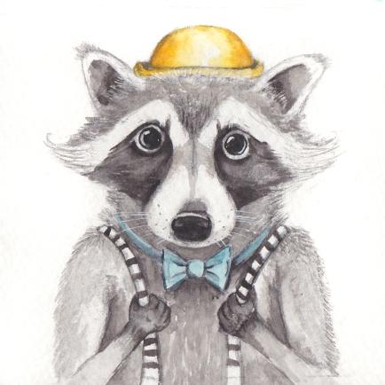 "The Rakish Raccoon, 3 1/2""x3 1/2"" original watercolor painting. Represented by Williamsburg Art Gallery 440A W Duke of Gloucester Street Williamsburg, VA 23185 (757) 565-9680"