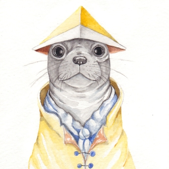 """""""Sloop"""" 4""""x4"""" watercolor and pencil on watercolor paper. Represented by Cheryl Watts Pottery & Gallery (831) 655-0303"""