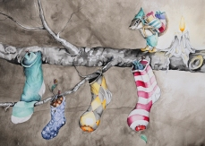 """Careworn Stockings-is an original watercolor painting. It measures 14""""x20"""" framed in a 18""""x24"""" barn wood frame with archival white matting and UV protective glass. I am currently representing this piece so if you have any questions contact me at klc.crawford@gmail.com"""