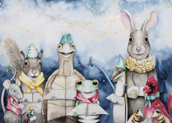 """The Carolers-is an original watercolor painting. It measures 14""""x20"""" framed in a 18""""x24"""" barn wood frame with archival white matting and UV protective glass. I am currently representing this piece so if you have any questions contact me at klc.crawford@gmail.com"""