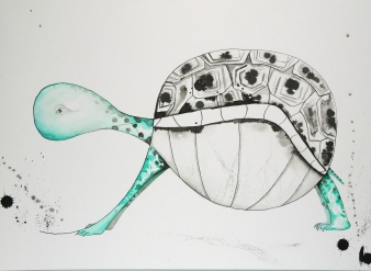Abstract Turtle-watercolor and ink. Framed in a black metal frame with white archival matting.I am representing this piece so feel free to email me klc.crawford@gmail.com for pricing.