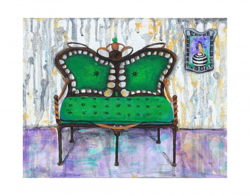 "Settee is an original 11""x14"" acrylic painting. It is framed in a black frame with white matting. $375.00"