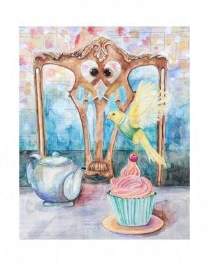 Robbing the Rich (dessert)- 16x20 watercolor over vintage recipe cards. Framed in a 16x20 wood frame. I am representing this piece so feel free to email me klc.crawford@gmail.com for pricing.
