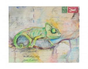 Cory the Chameleon-8x10 watercolor over vintage letters and envelops from the 1950's. Framed and matted. $145.00