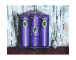 """Armoire is an original 16""""x20"""" mixed media painting done with acrylic paint and collaged paper background. It is framed in a black frame. $395.00"""