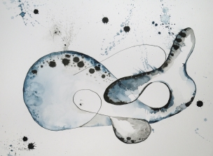 Abstract Whale-watercolor and ink. Framed in a black metal frame with white archival matting.I am representing this piece so feel free to email me klc.crawford@gmail.com for pricing.