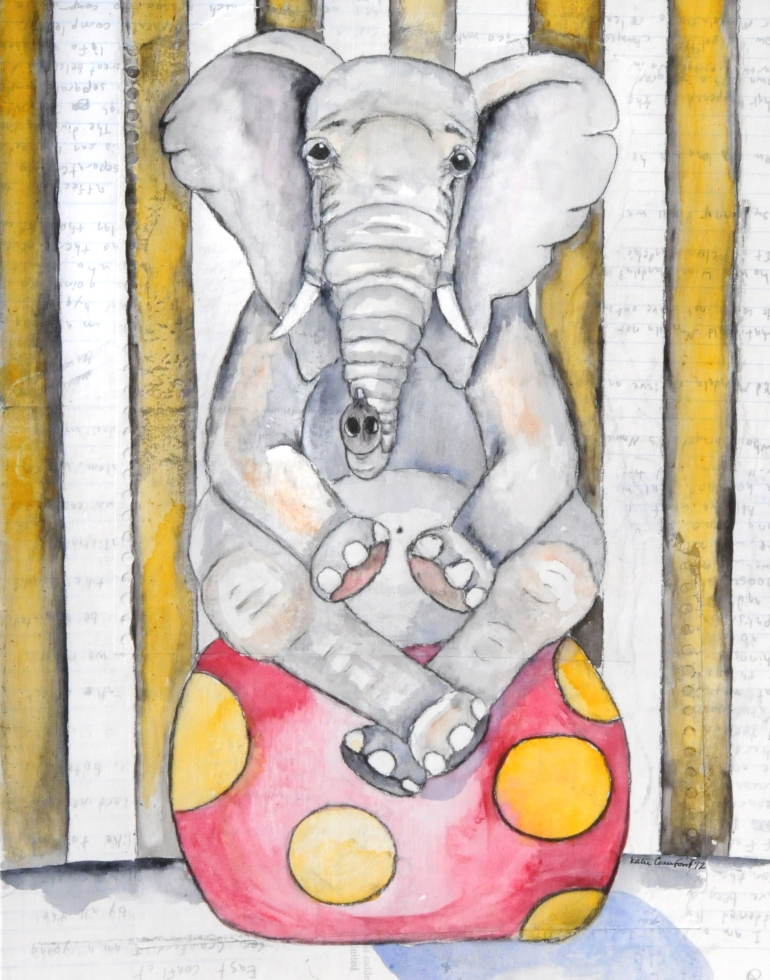 Elgin the Elephant, mixed media art work