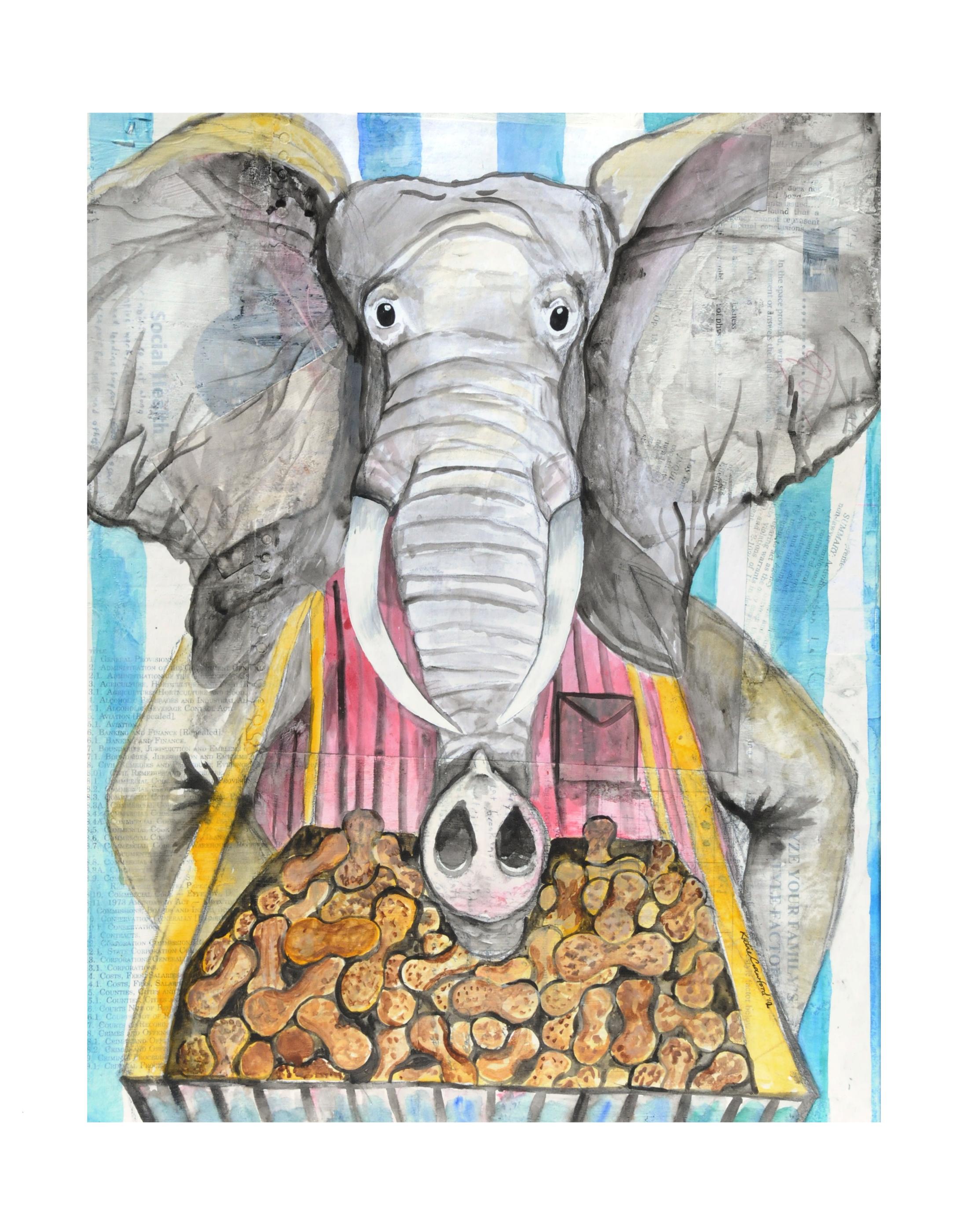 Animal art print, mixed media