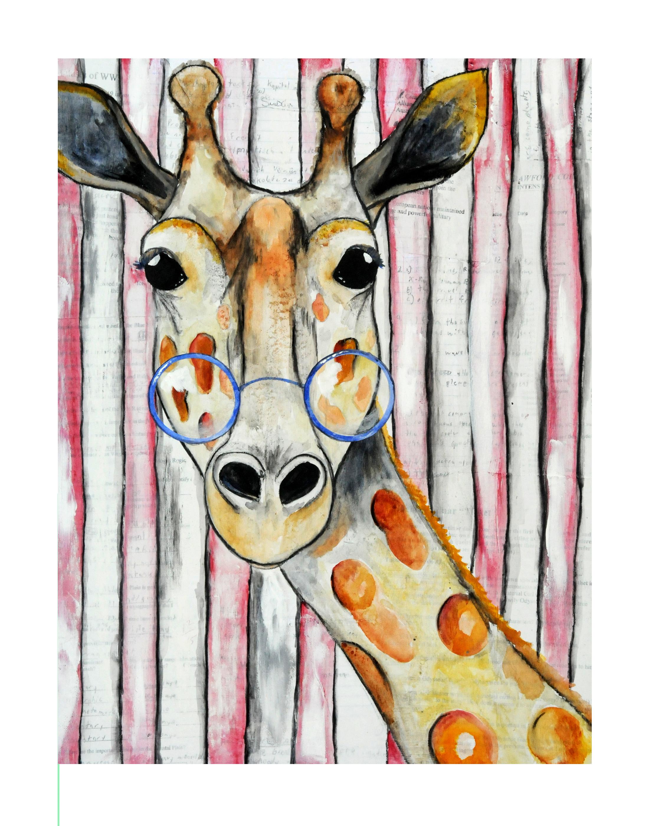 Ginger, mixed media animal art print