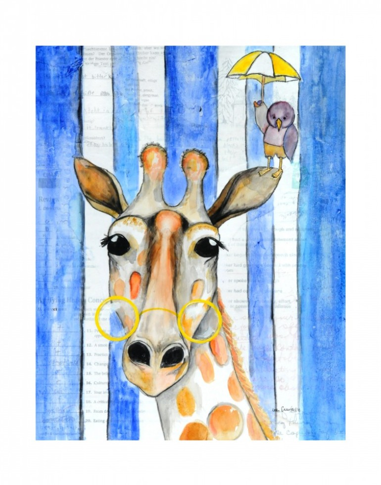giraffe mixed media art