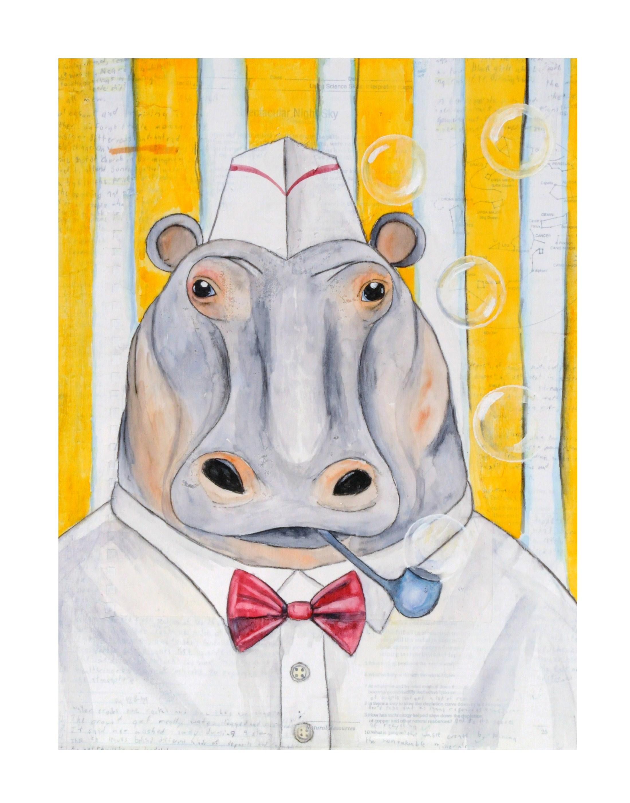 animal art, mixed media art print