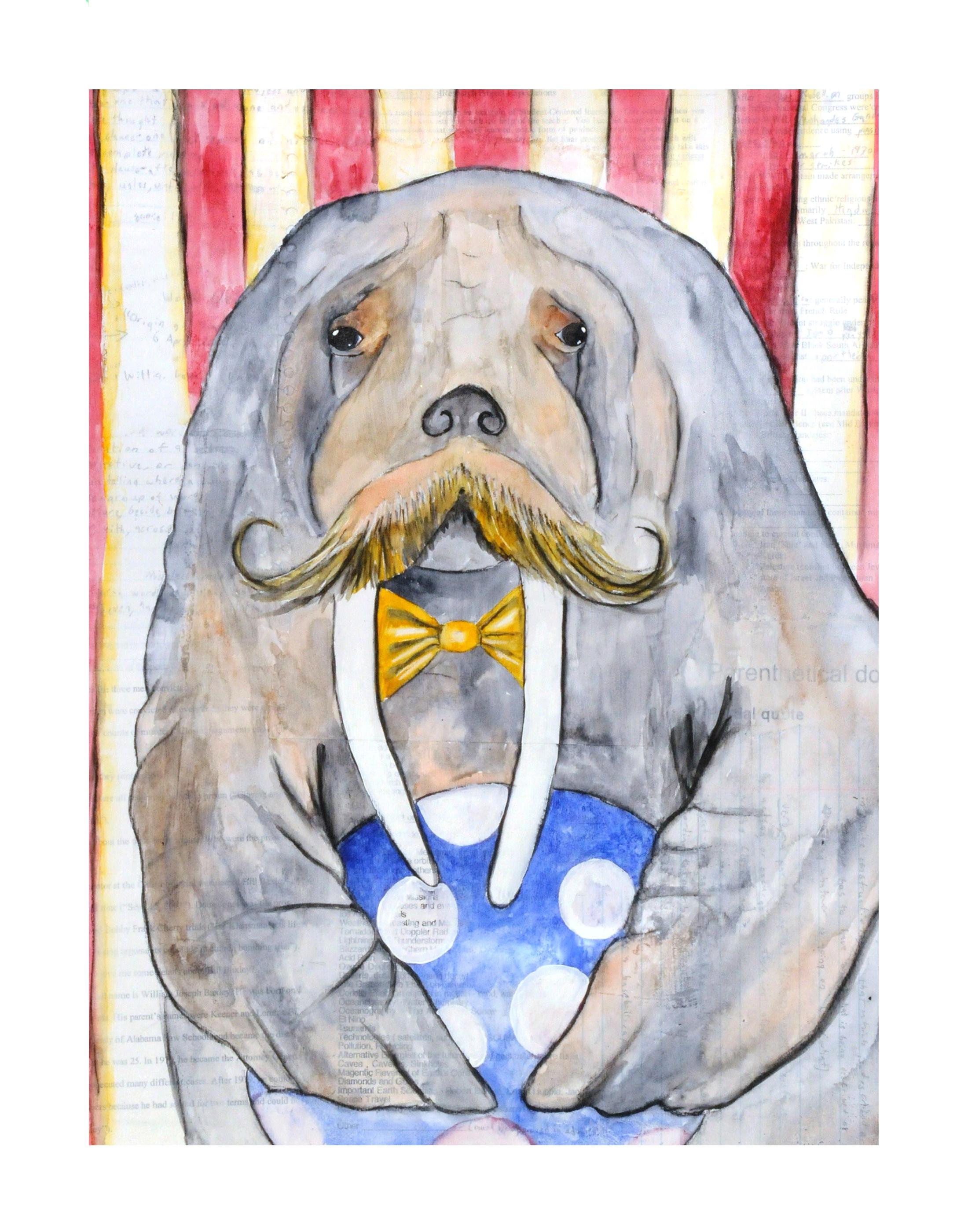 mixed media, animal art print