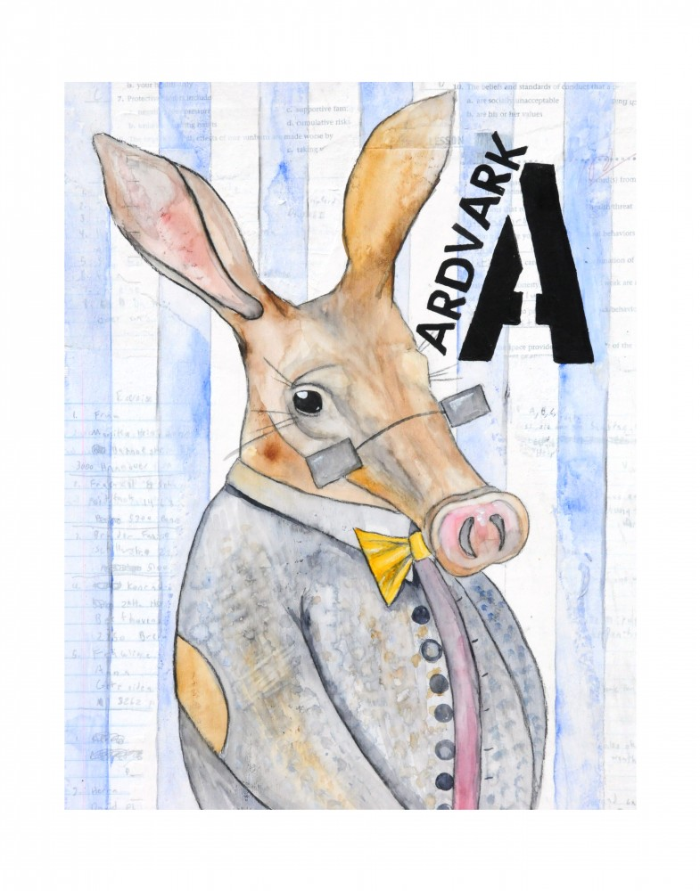 """A-Aardvark, mixed media painting done with collage, watercolor and charcoal. Original painting 14""""x11"""" sold as part of the alphabet set. $5200.00 set. 14""""x11"""" prints available for $30.00 each."""