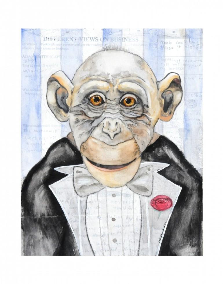 water color chimp