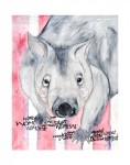 He was done with charcoal, watercolor, gesso and collage. He is 14″x11″. 14″x11″ prints will be available for $30.00ea.
