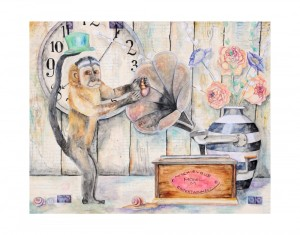 "Mischievous Entertainment, 24""x30"" mixed media watercolor painting"