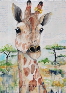 "Ginny the Giraffe-12""x16"" painting done on a gallery wrapped canvas so it does not need a frame. Watercolor and acrylic over vintage letters and envelops from the 1950's. $315.00"