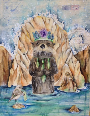 """The Sea Sovereign- 24""""x18"""" original mixed media watercolor painting. I am representing this piece so feel free to email me klc.crawford@gmail.com for pricing."""