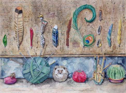 """Pins of a Feather-18""""x24"""" mixed media watercolor paintings. Represented by Williamsburg Art Gallery 440A W Duke of Gloucester Street Williamsburg, VA 23185 (757) 565-9680"""
