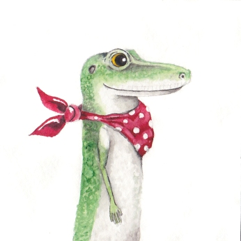 """Anole Passport Photo-This is a 3""""x3"""" watercolor painting. It is framed in a 6""""x6"""" blue frame with archival matting. The matting is hand stamped with """"Approved for Flight.""""Represented by Cheryl Watts Pottery & Gallery (831) 655-0303"""
