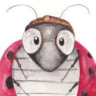 """Ladybug #1 Passport Photo-This is a 3""""x3"""" watercolor painting. It is framed in a 6""""x6"""" blue frame with archival matting. The matting is hand stamped with """"Approved for Flight.""""I am representing this piece so feel free to email me klc.crawford@gmail.com for pricing."""