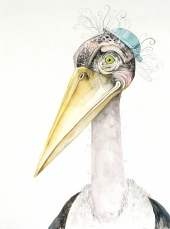 """Mr. Marabou, unframed 11""""x14"""" watercolor painting. I am currently representing this piece so feel free to contact me at klc.crawford@gmail.com"""